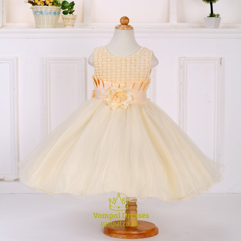Champagne lace bodice ball gown flower girl dress with for Flowers for champagne wedding dress
