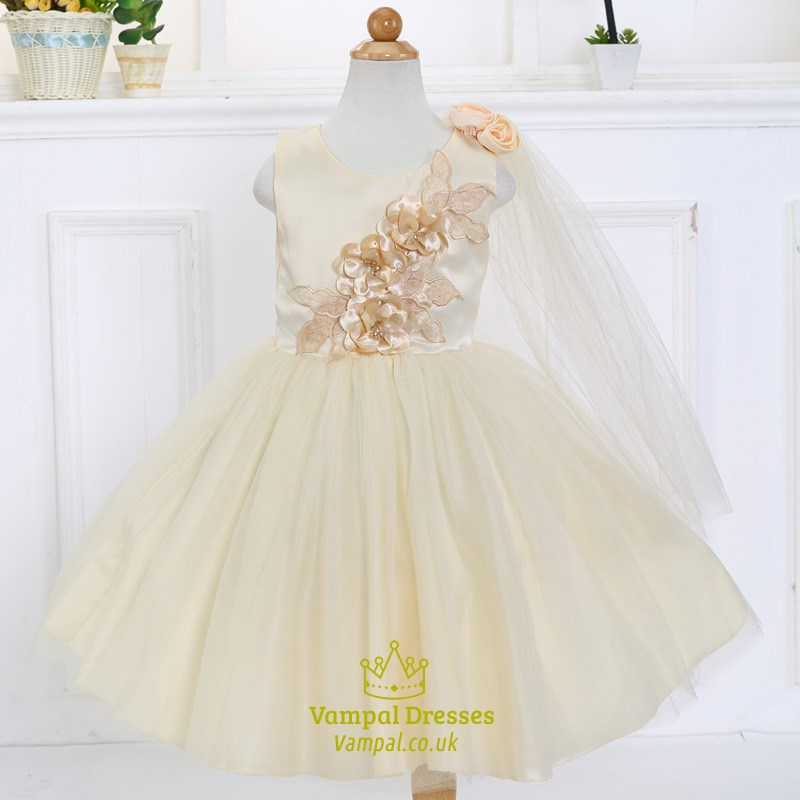 Champagne Ball Gown Knee Length Flower Girl Dress With