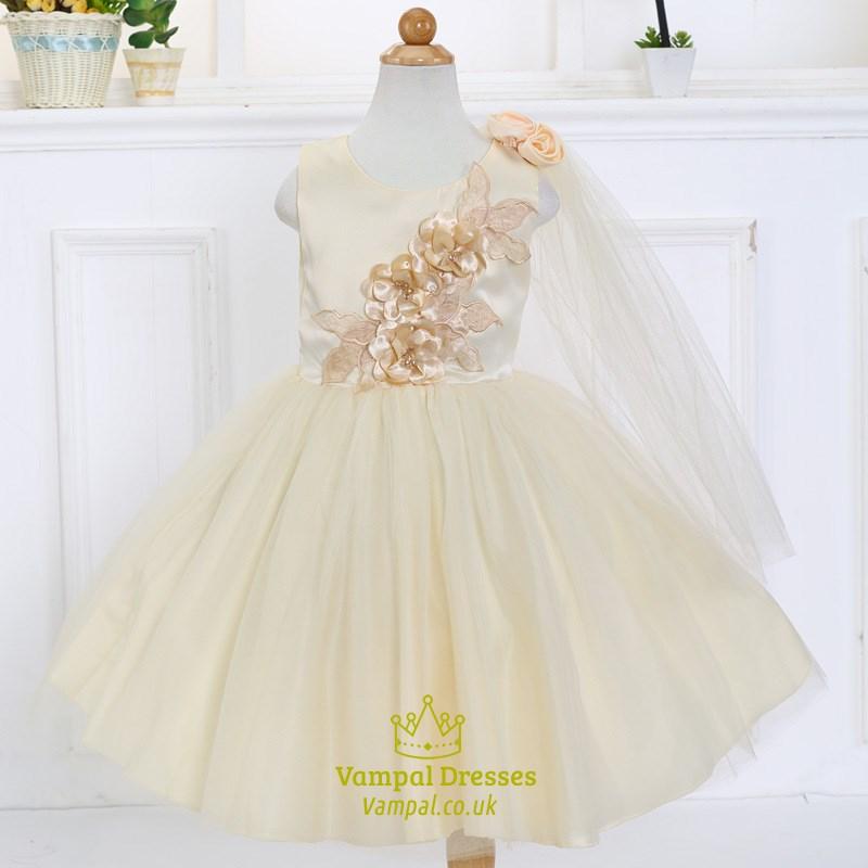 Champagne ball gown knee length flower girl dress with for Flowers for champagne wedding dress