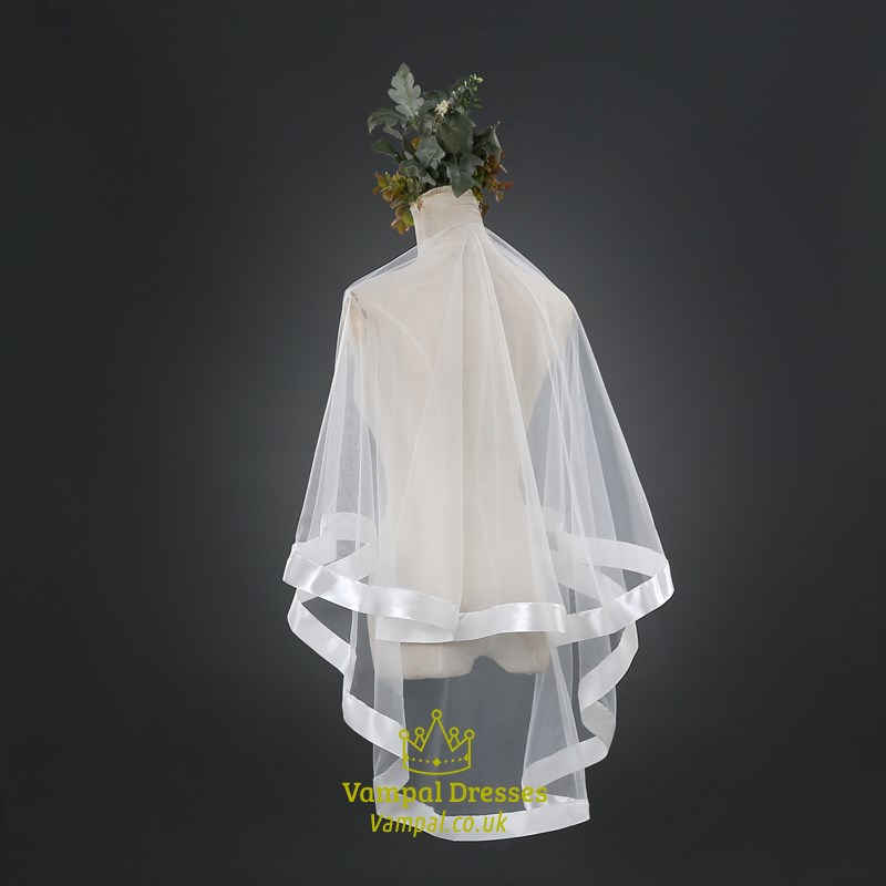 Two Tier Simple Elbow Length Bridal Veil With Ribbon Edge
