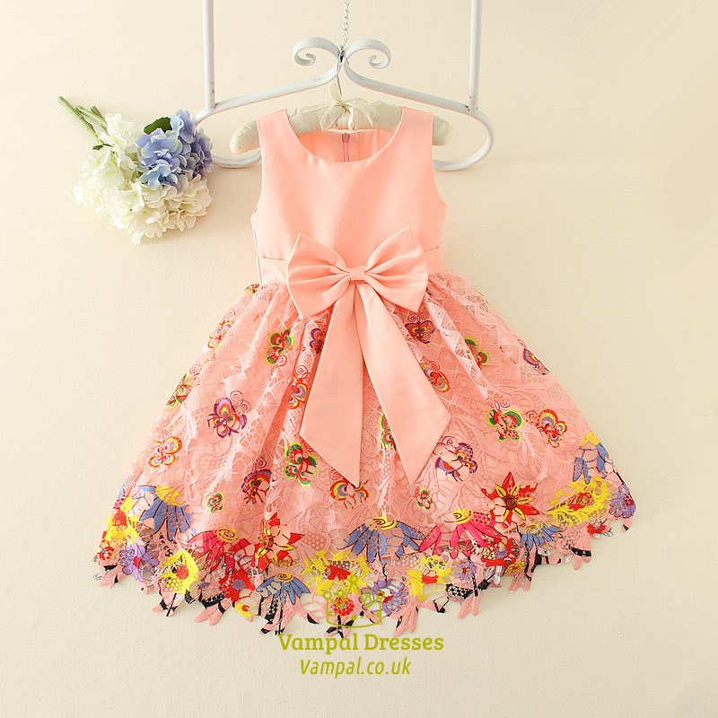 Pink A Line Knee Length Flower Girl Dresses With Floral
