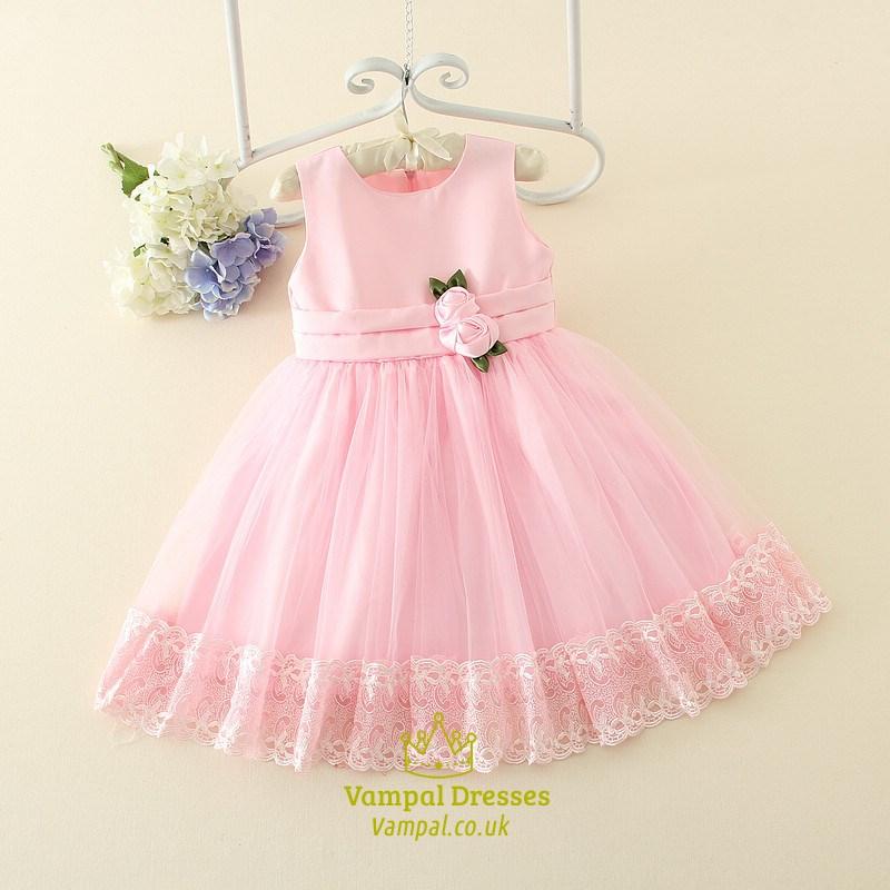 Pink a line sleeveless flower girl dresses with flowers in waist pink a line sleeveless flower girl dresses with flowers in waist mightylinksfo