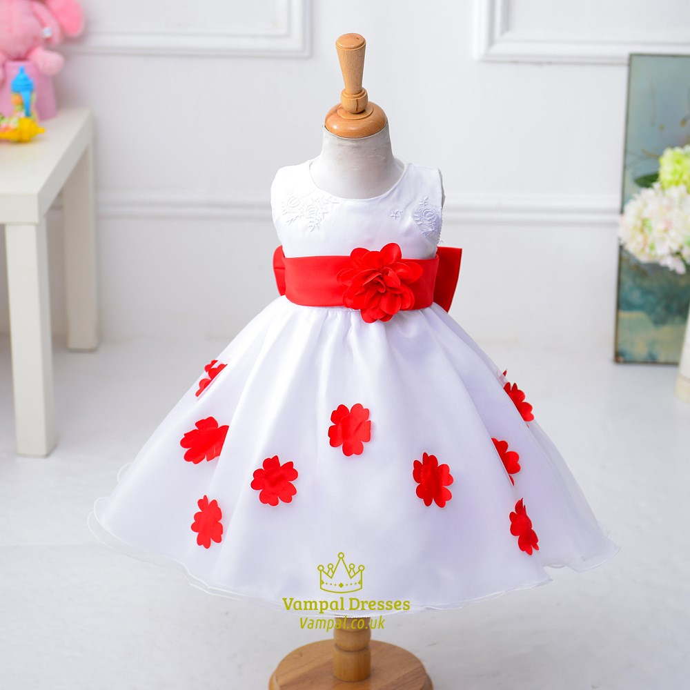 Purple Ball Gown Knee Length Flower Girl Dress With Flowers In Skirt ...