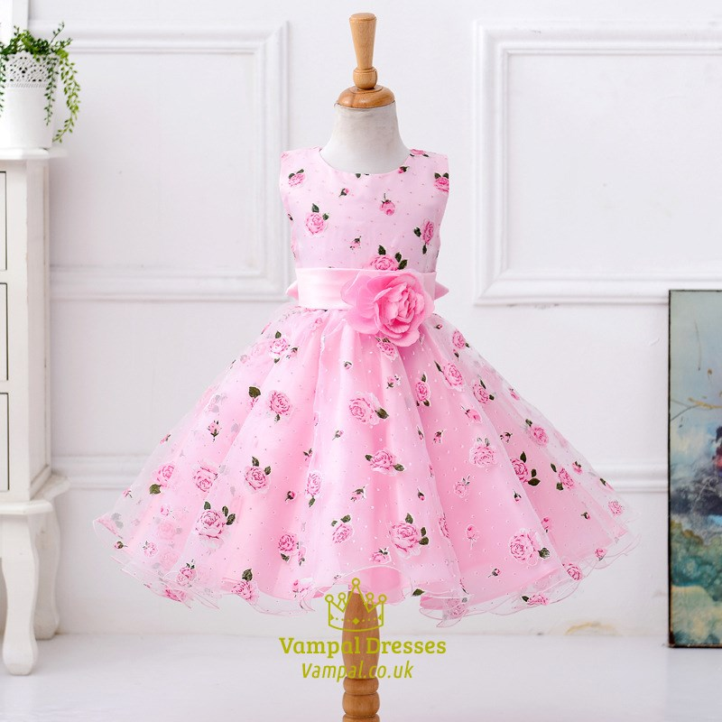 Pink Ball Gown Short Floral Print Flower Girl Dress With Flower Sash ...