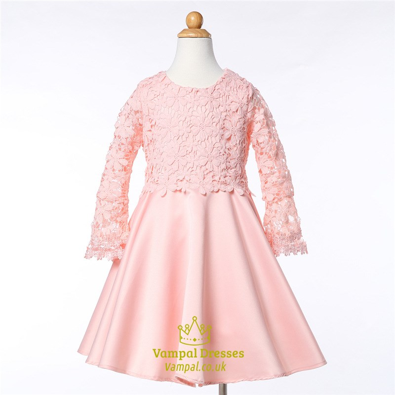 Pink lace top a line knee length long sleeve flower girl dresses pink lace top a line knee length long sleeve flower girl dresses mightylinksfo