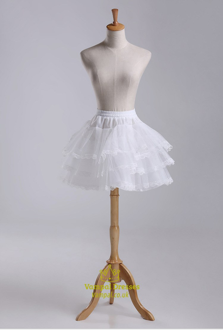 Girls Tulle Taffeta Lace Short Length Three Tier Petticoat