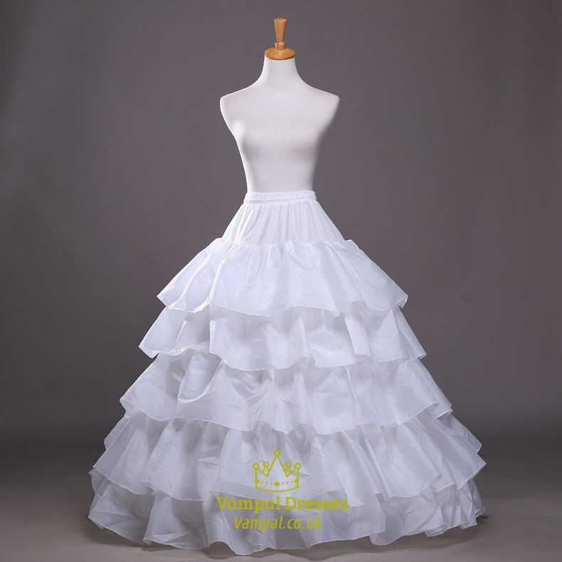 Women Taffeta Polyester Floor Length Ball Gown Petticoat
