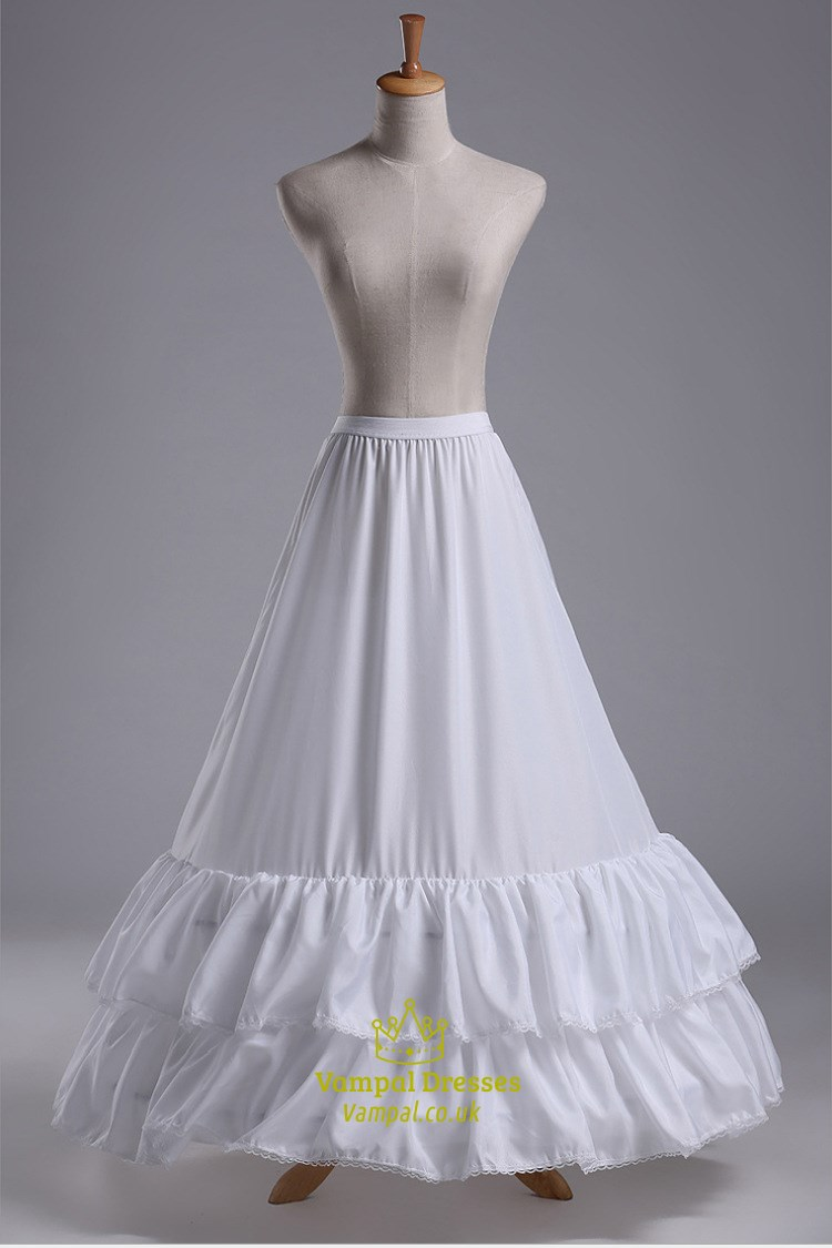 Women Nylon Taffeta Floor Length Two Tier A Line Petticoat