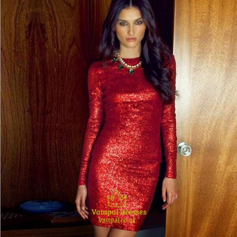 Glittery Red Sequin Long Sleeve Jewel Tight Homecoming