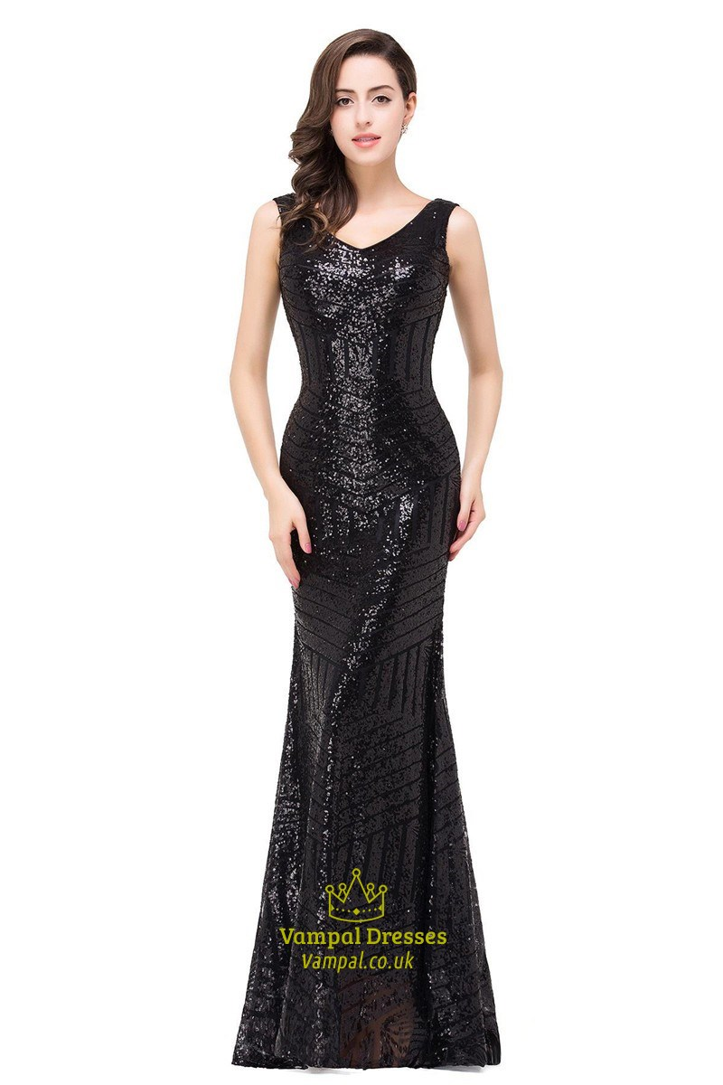 Vintage Sequin Sleeveless V-Neck Bodycon Mermaid Style Prom Dresses ...
