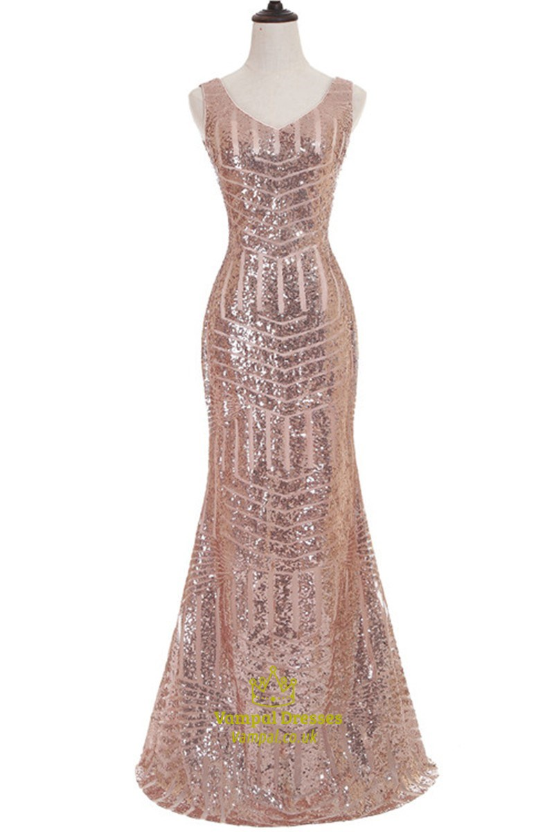 Vintage Sequin Sleeveless V Neck Bodycon Mermaid Style