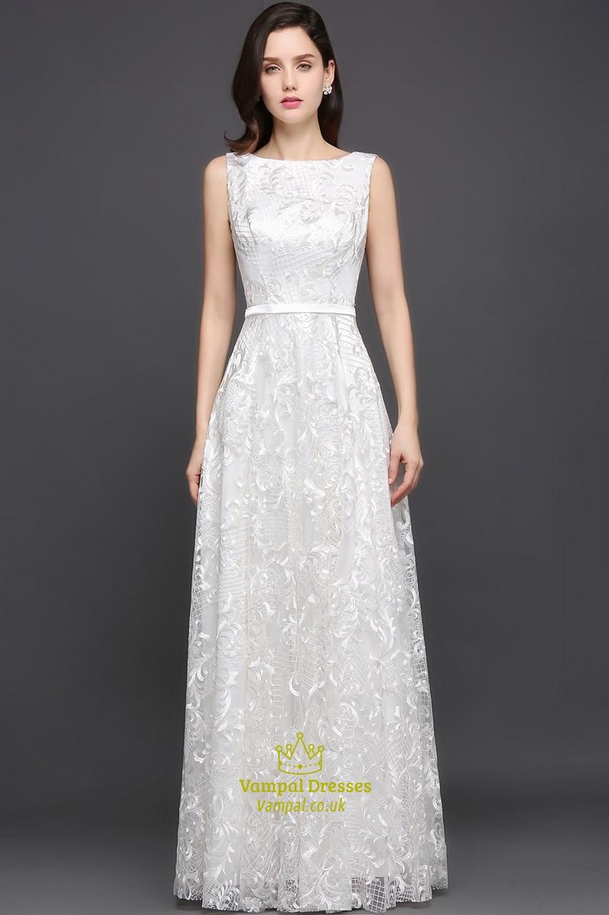Elegant white lace sleeveless v back floor length prom for Floor length gowns