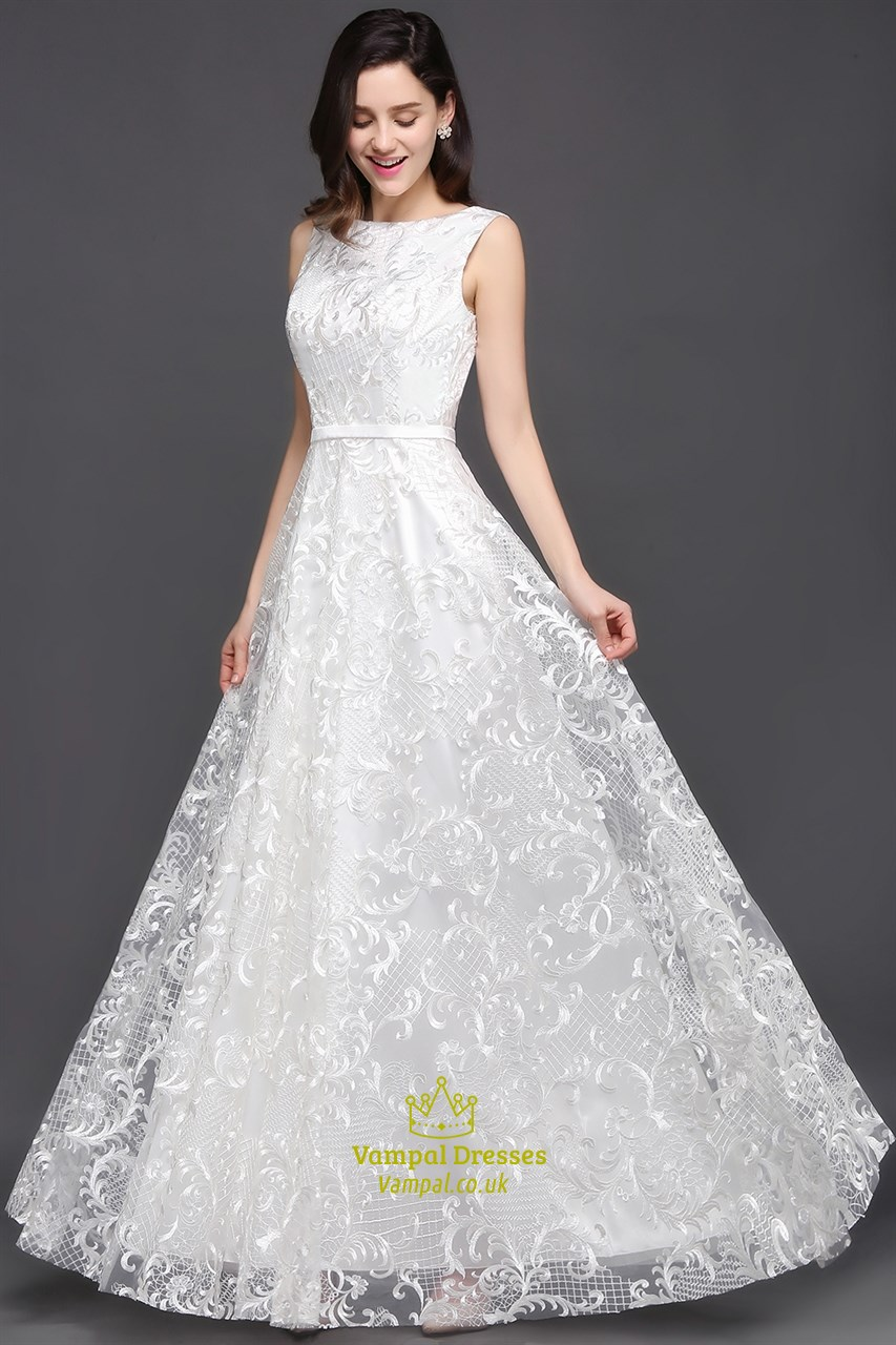 Elegant White Lace Sleeveless V Back Floor Length Prom