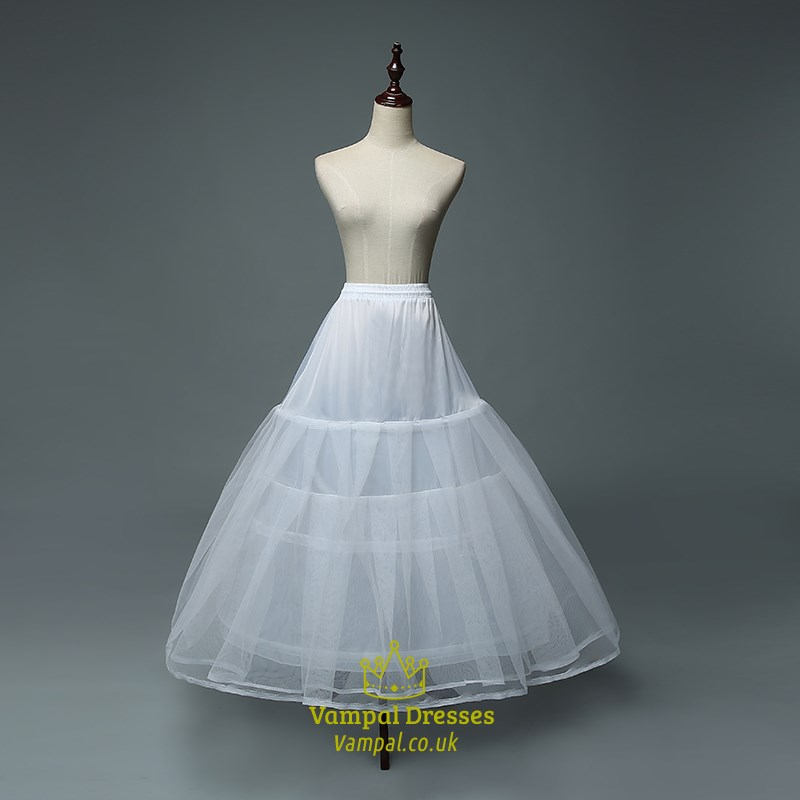 Women Tulle Netting Nylon Floor Length Three-Tier Ball Gown ...