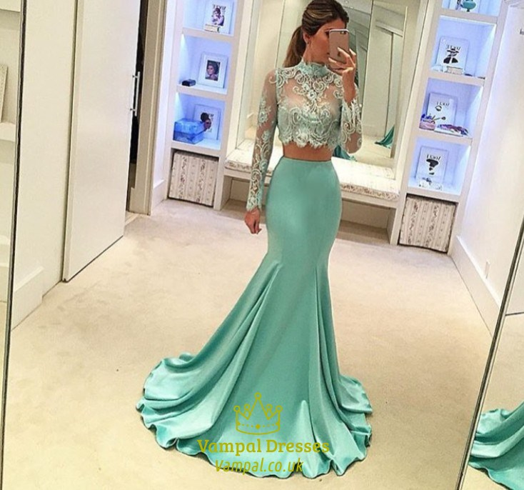 d39610e023a2 Mint Green Long Sleeves High Neck Lace Top Mermaid Style Prom Dress SKU  -FS1909