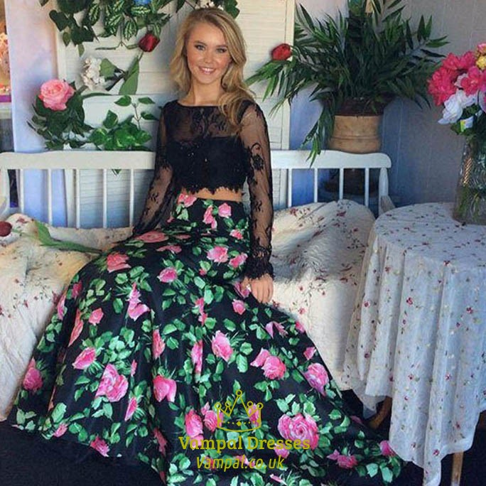 551b247b7b05 Black Lace Top Two Piece Backless Mermaid Prom Dress With Long Sleeves