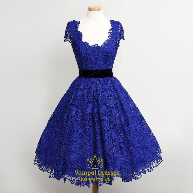 Royal Blue Lace Overlay Cap Sleeves Tea Length Cocktail Dresses ...
