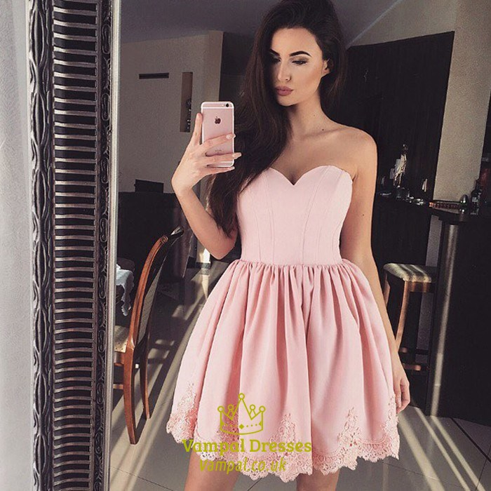 b7e1729ca73 Pink Sweetheart Knee Length Homecoming Dresses With Lace Applique SKU  -FS1934
