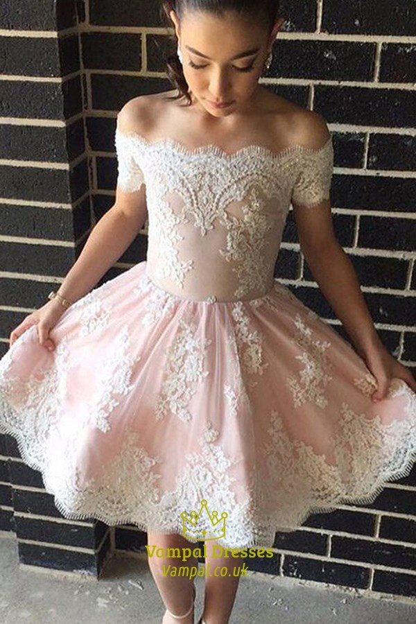 White Lace Short Sleeve Off The Shoulder Knee Length