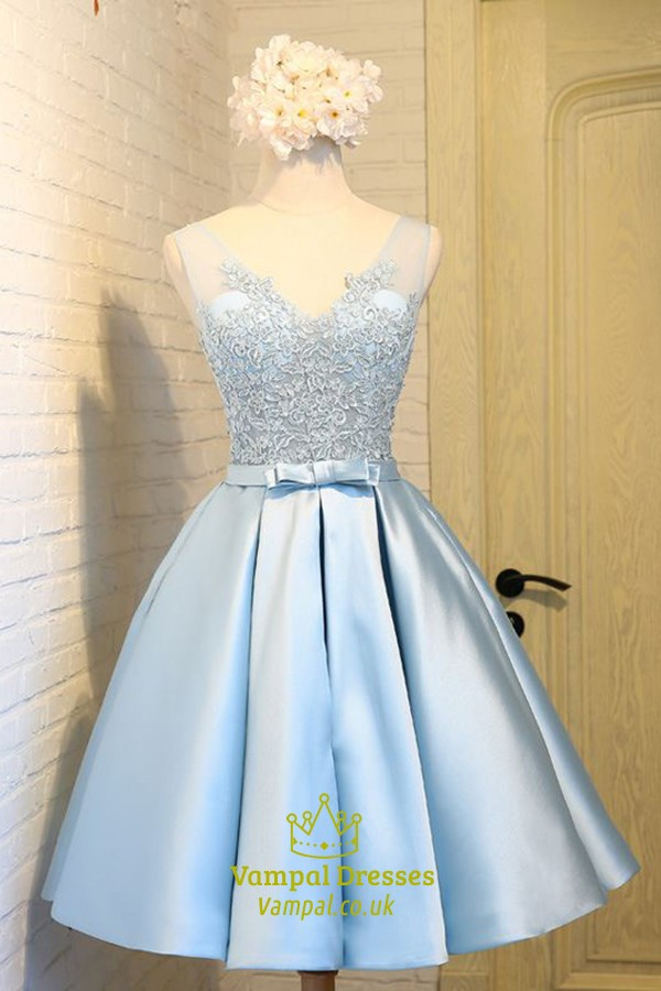 Light Blue Sleeveless V Neck A Line Homecoming Dress With