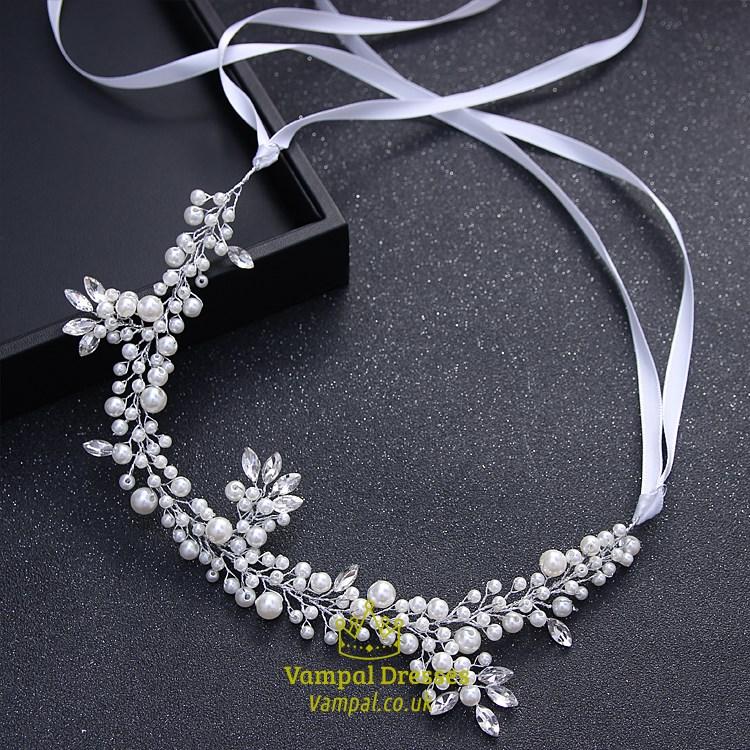 Elegant Imitation Pearls Rhinestone Ribbon Bridal