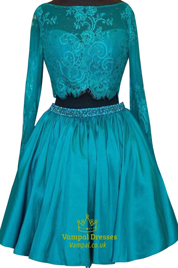Blue Long Sleeve Two Piece A Line Homecoming Dress With