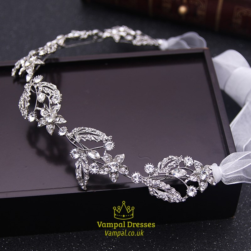 Exquisite Alloy Rhinestone Ribbon Bridal Headbands