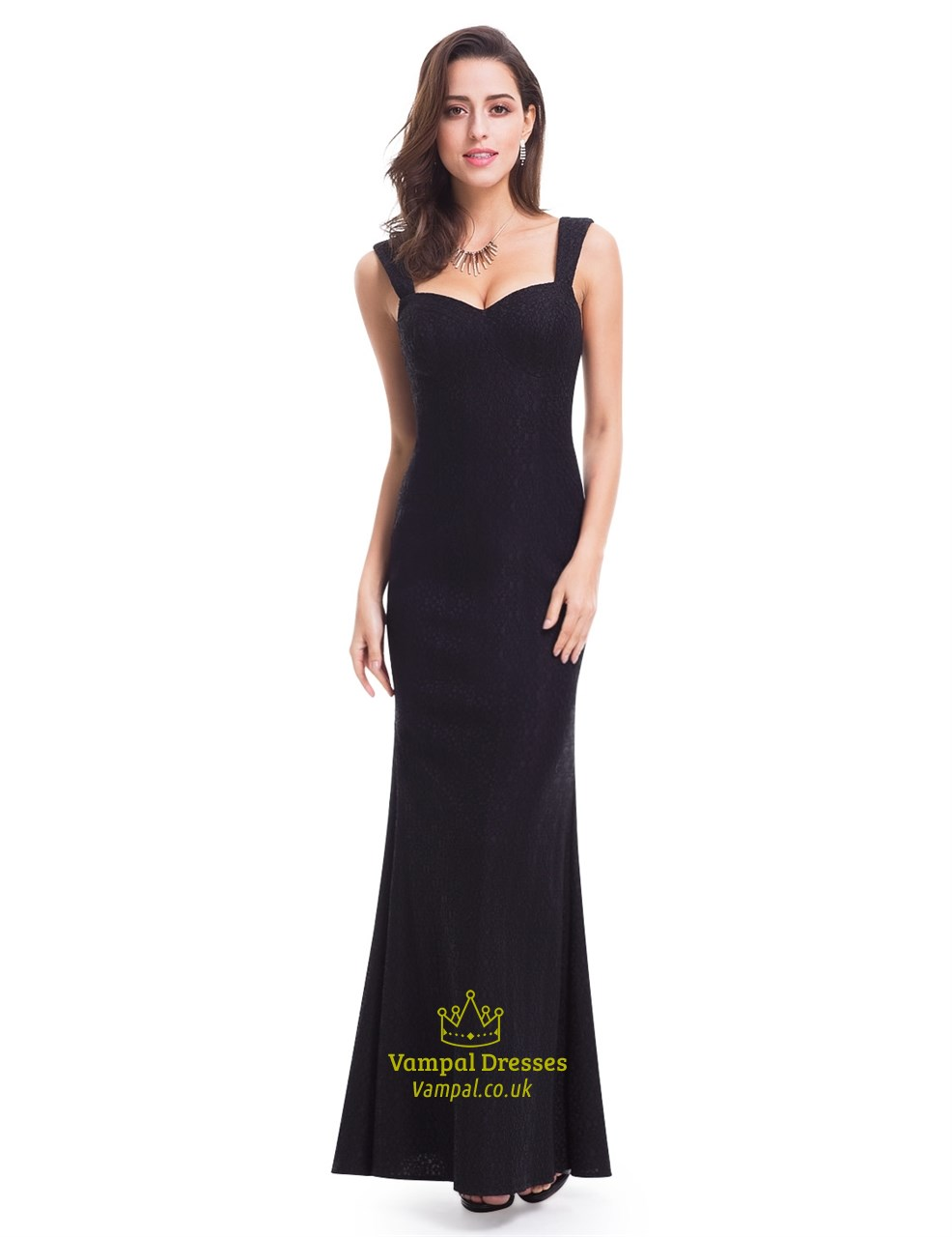 Black Sweetheart Neck Sleeveless Long Mermaid Prom Dress With Straps ...