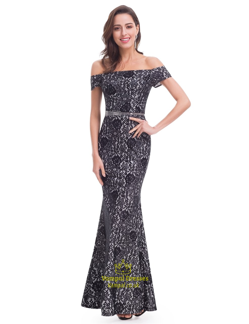 Black Lace Top Off The Shoulder Chiffon Bottom Mermaid Style Prom ...