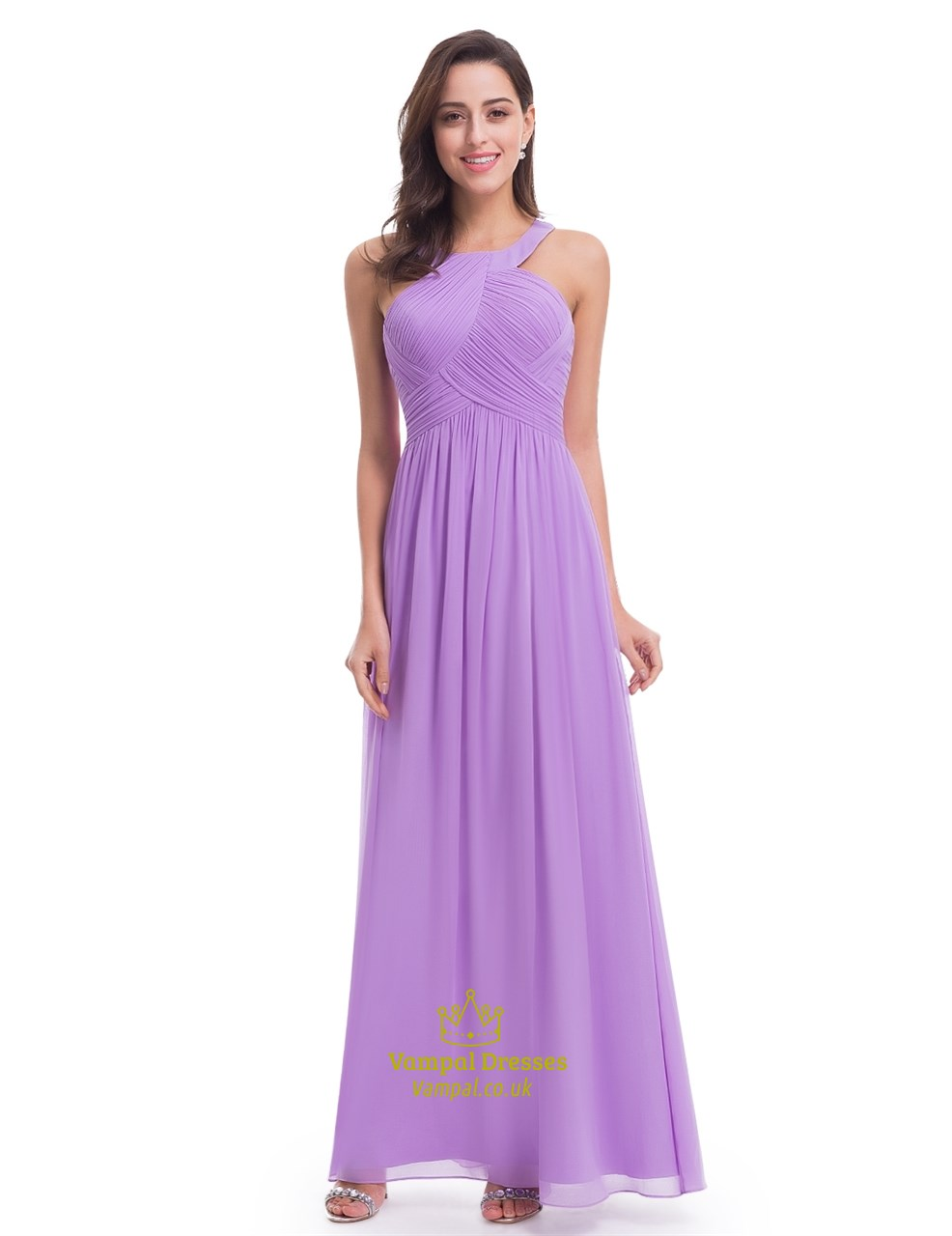 Lavender floor length sleeveless a line halter chiffon for Floor length dresses