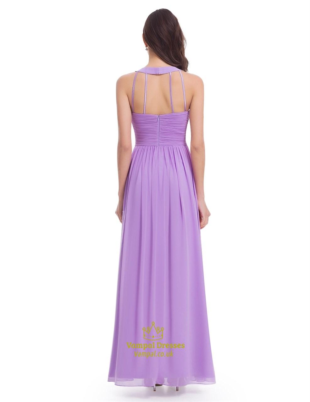 eead70eda6cb Lavender Floor Length Sleeveless A-Line Halter Chiffon Bridesmaid Dress