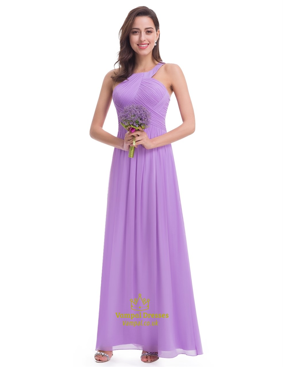 Lavender Floor Length Sleeveless A Line Halter Chiffon