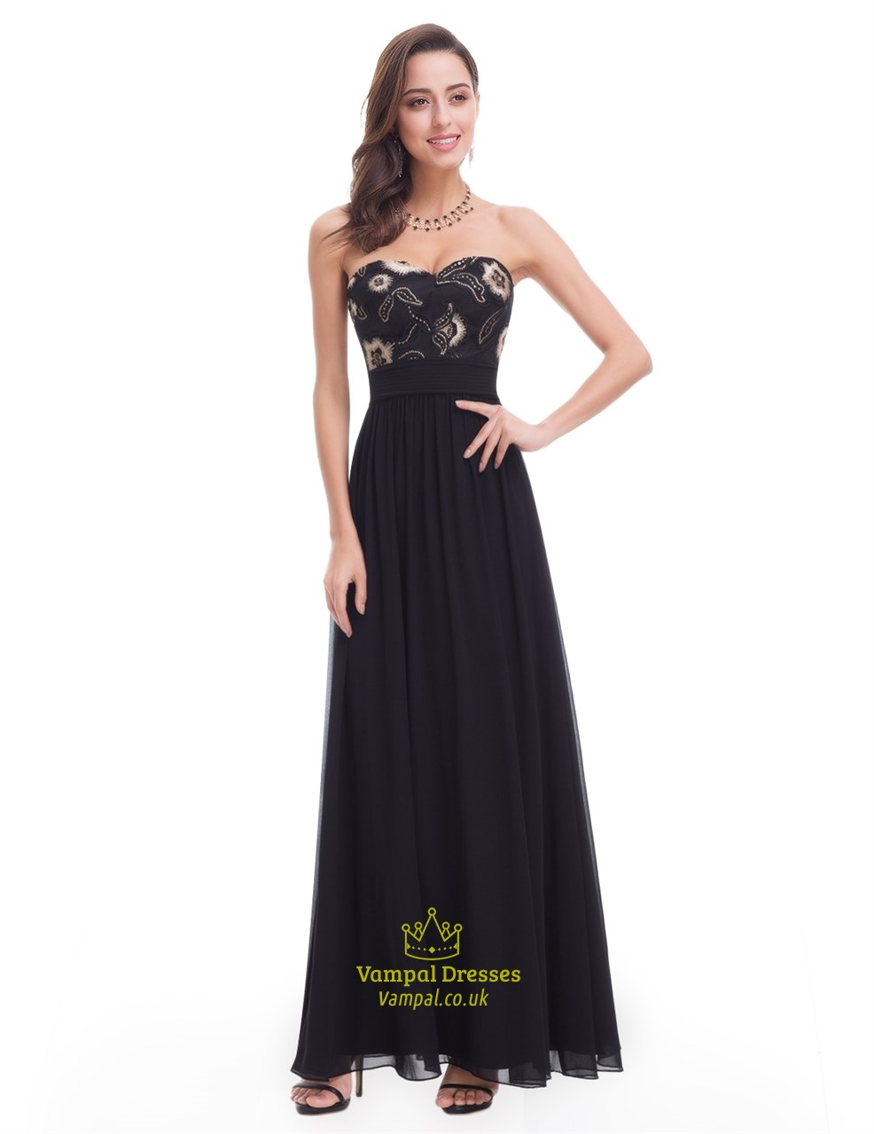 Black Chiffon Sweetheart Neckline Long Prom Dress With Floral ...