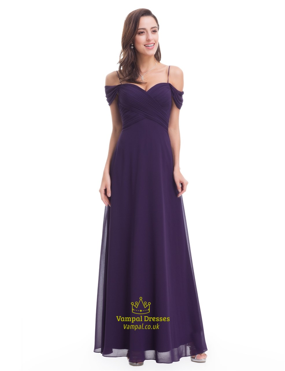 Eggplant chiffon floor length bridesmaid dress with straps for Floor length dresses