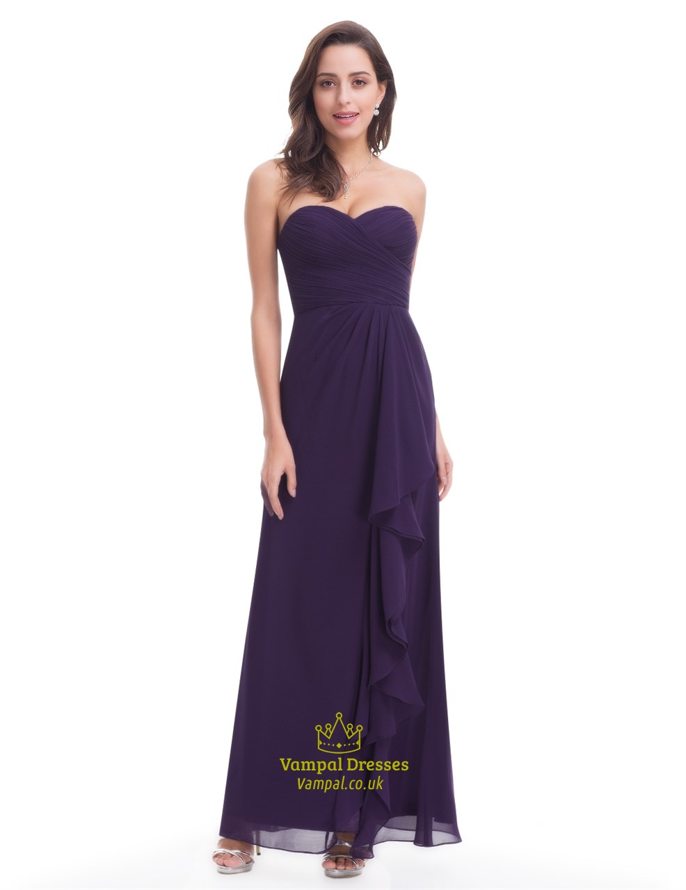 Eggplant sleeveless floor length chiffon dress with for Floor length dresses