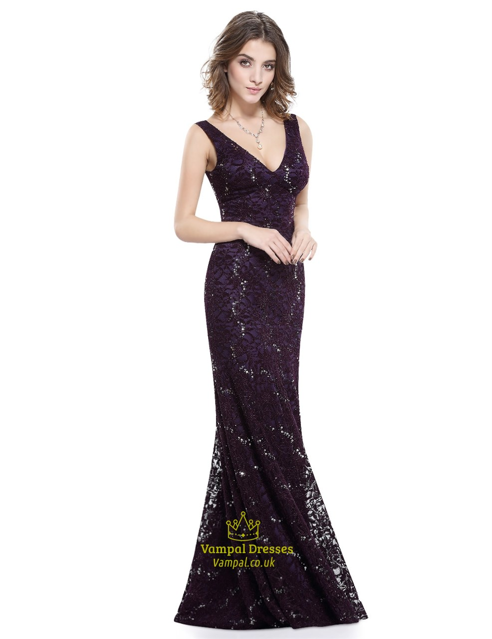 bd9f225bd40 Eggplant Long Lace V Neck Sleeveless Mermaid Style Prom Dress With V ...