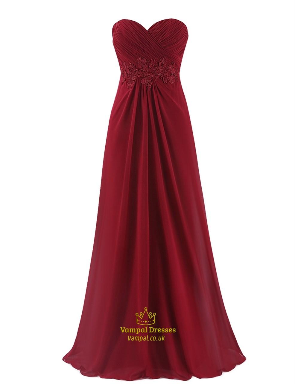 Burgundy Elegant Floor Length Chiffon Prom Dress With Lace