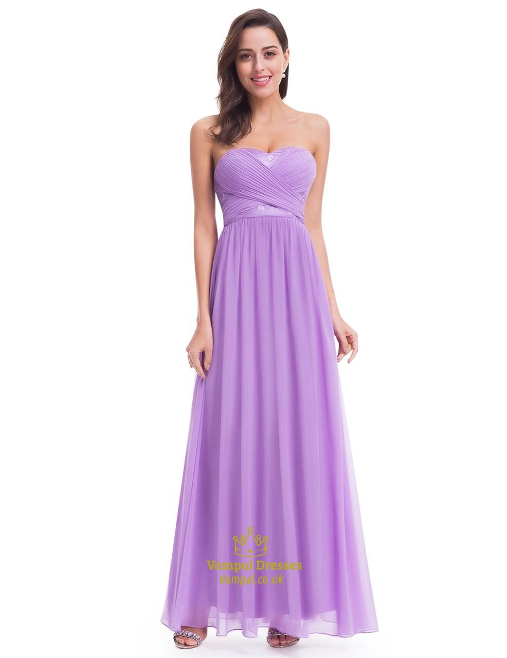 819ed61800 Elegant Lavender Sleeveless Floor Length Chiffon Bridesmaid Dress SKU  -FS1998