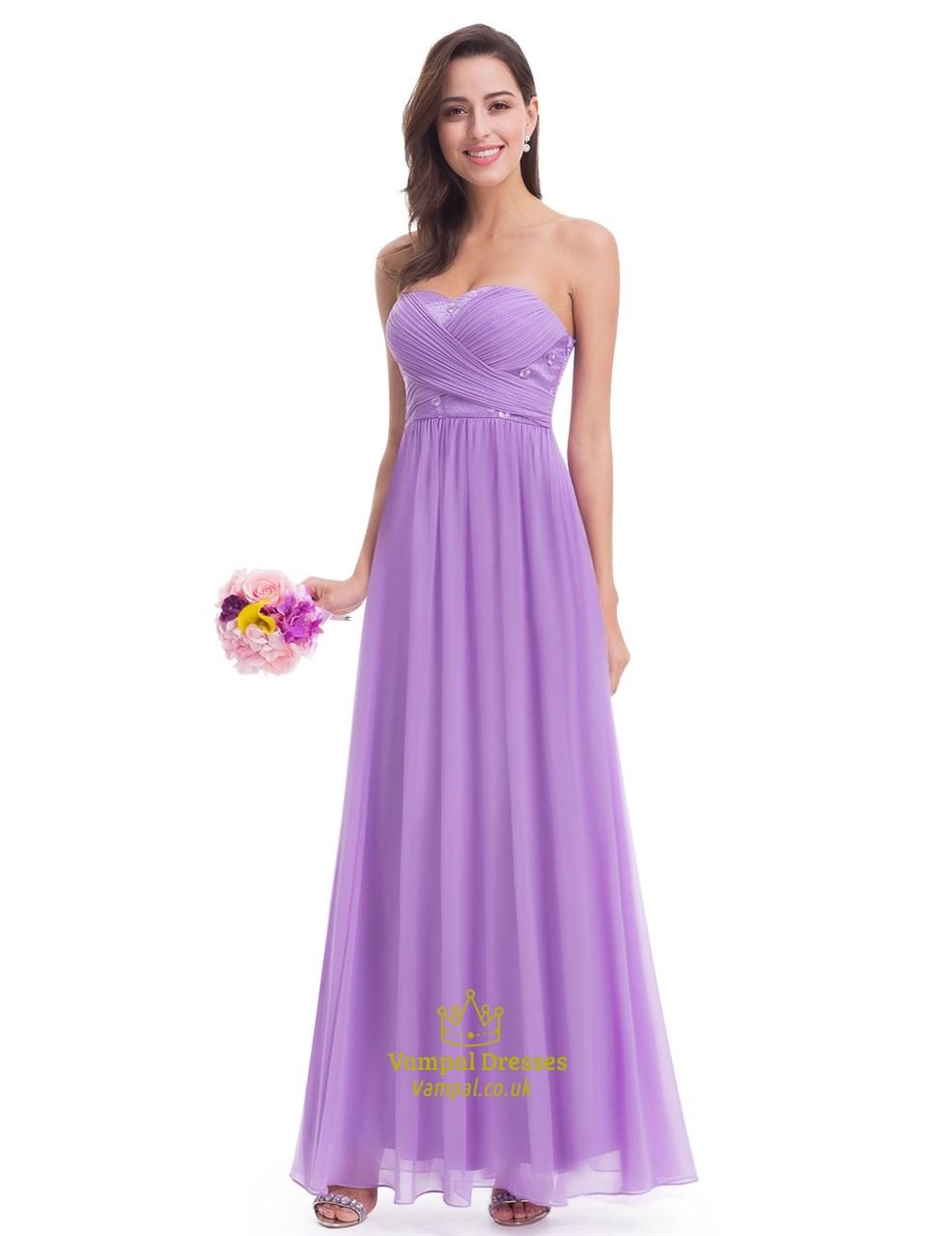 Elegant Lavender Sleeveless Floor Length Chiffon Bridesmaid Dress ...