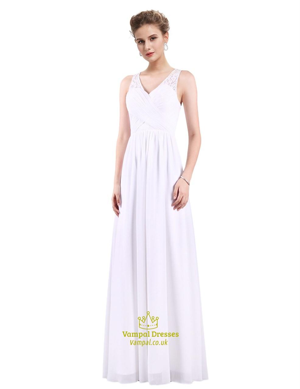 884b4718034 Classic V Neck Long Chiffon Floor Length Illusion Neckline Prom Dress.  Product Photos. Color