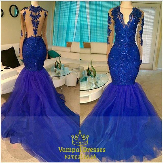d3c5978f7c0da Royal Blue V Neck Long Sleeve Mermaid Prom Dresses With Lace Appliques SKU  -FS2008