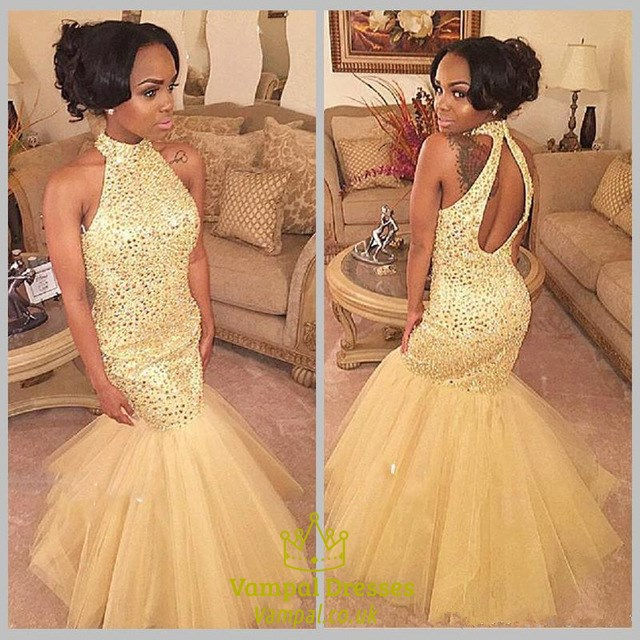 Champagne Mermaid Prom Dress Style