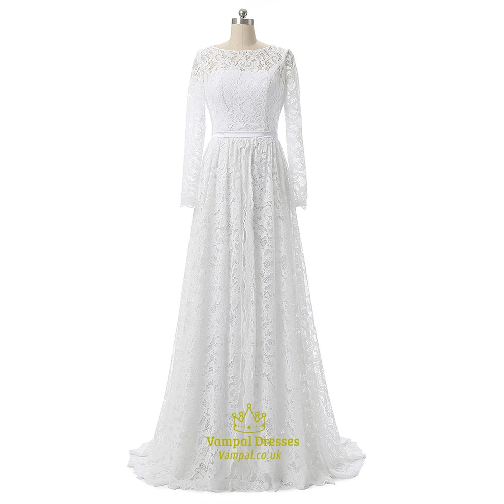 Elegant lace bodice long sleeve floor length long wedding for Elegant wedding dresses with long sleeves