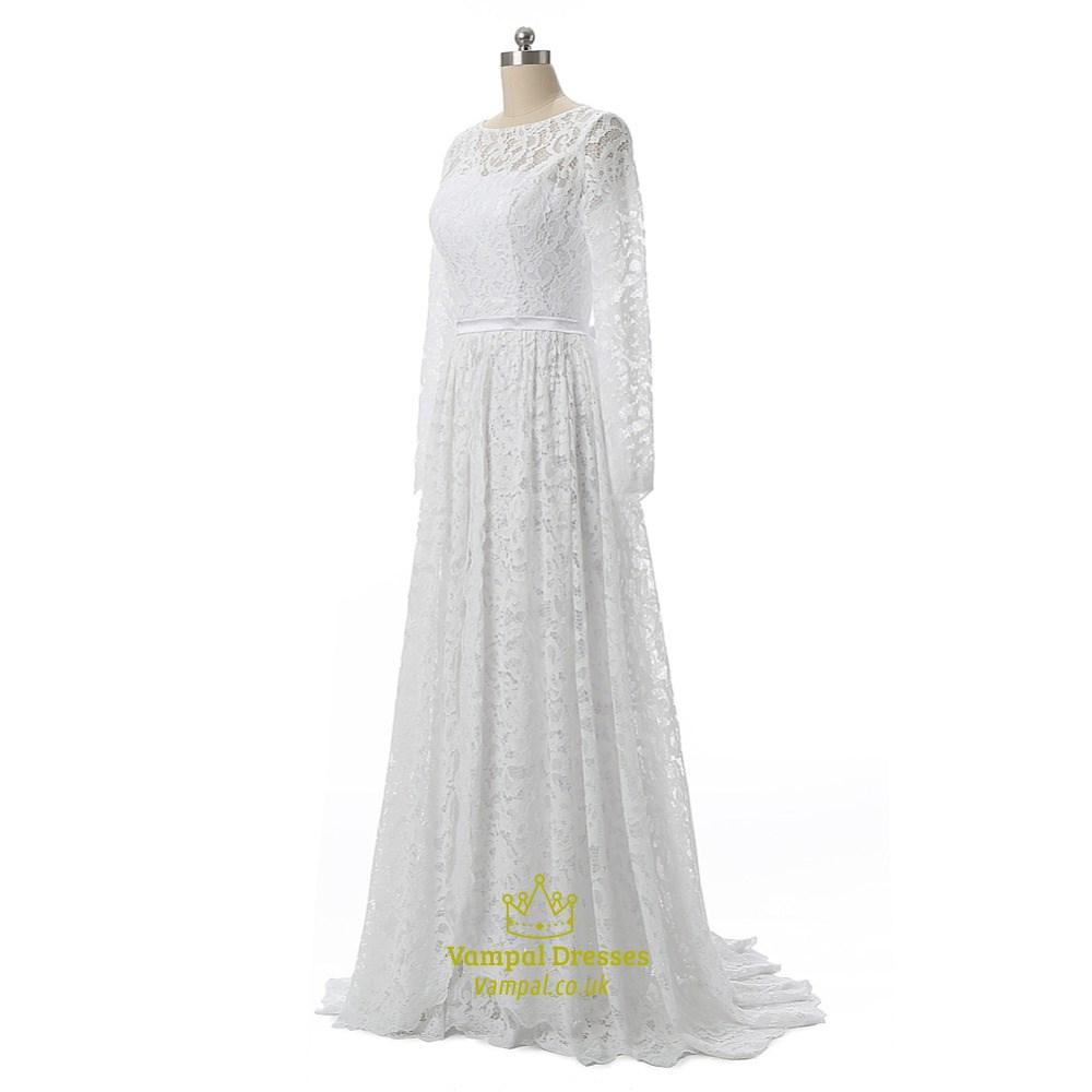 Elegant lace bodice long sleeve floor length long wedding for Floor length lace wedding dress
