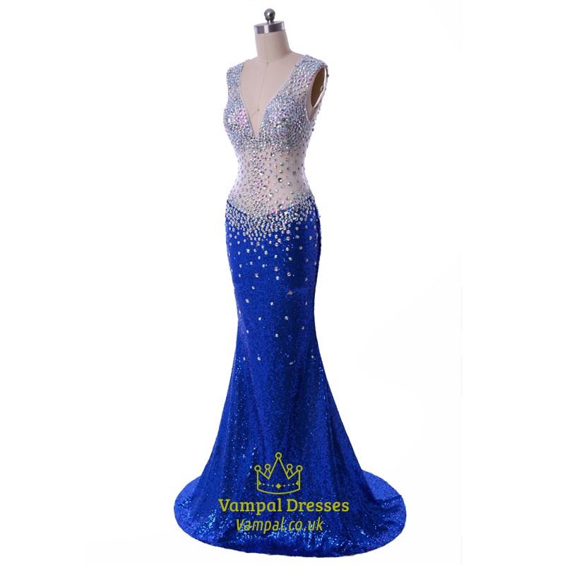 Beaded-Bodice Long Open-Back Prom Dress - PromGirl