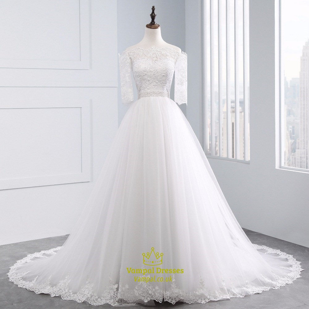 Lace off the shoulder half sleeve wedding dress with lace for Half sleeve wedding dress