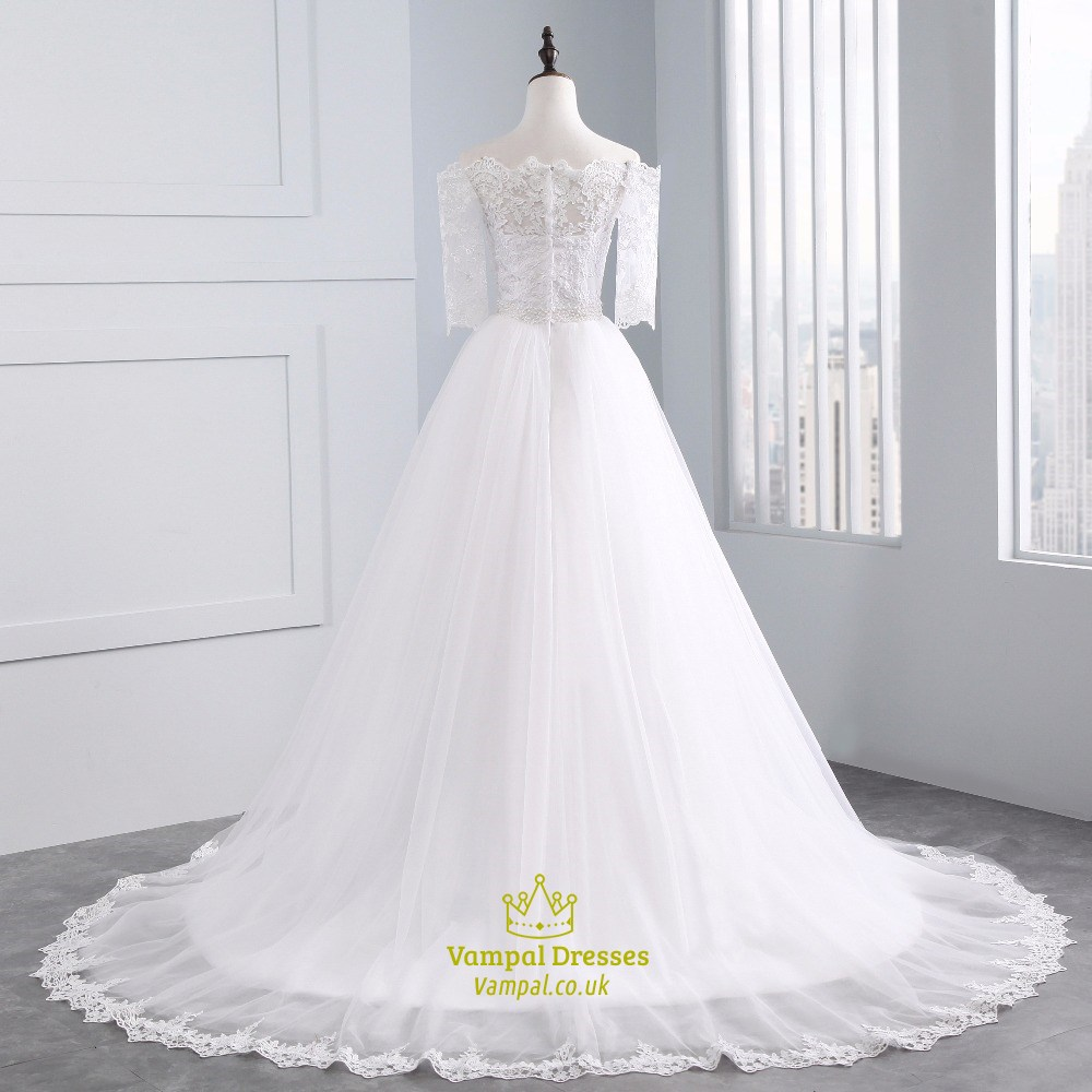 34384ab73d3 Lace Off The Shoulder Half Sleeve Wedding Dress With Lace Appliques ...