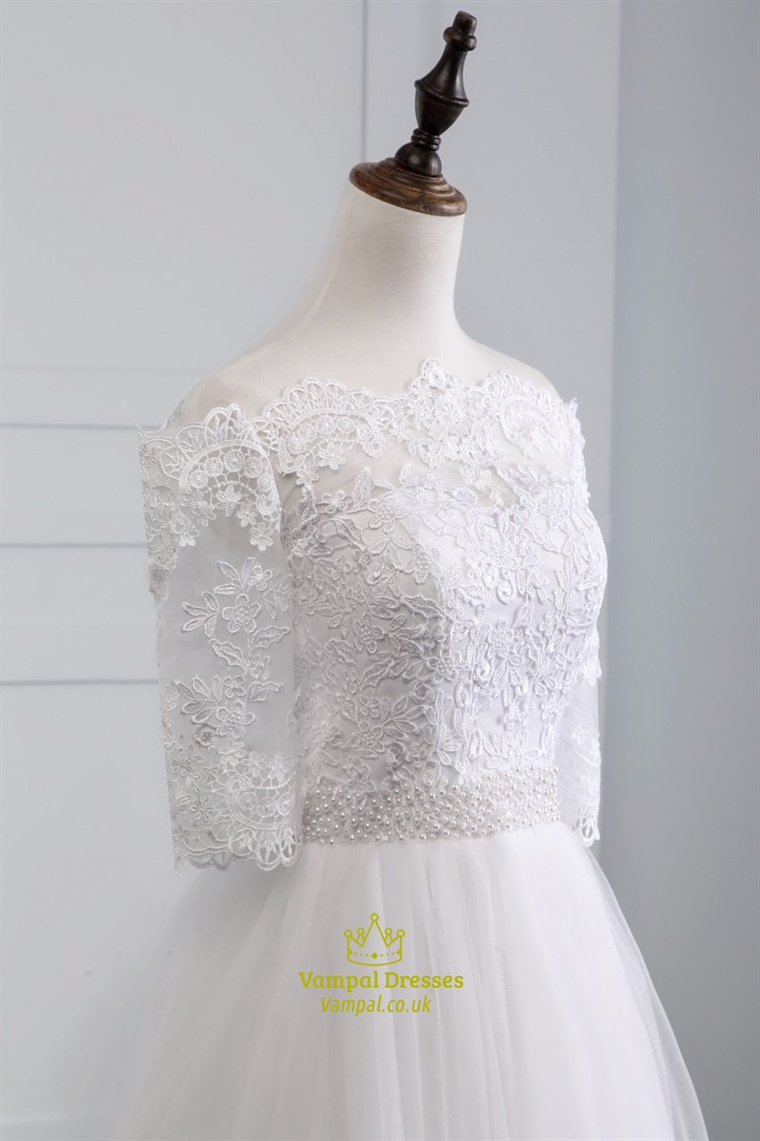 Lace off the shoulder half sleeve wedding dress with lace for Lace off the shoulder wedding dresses