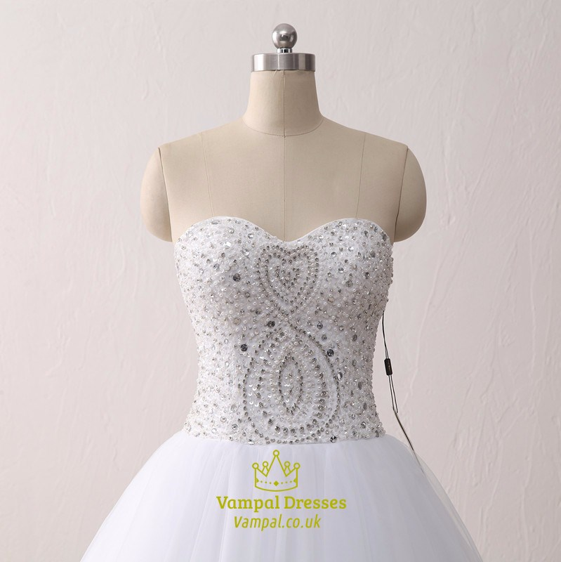 Elegant White Floor Length Ball Gown Wedding Dress With Beaded Bodice