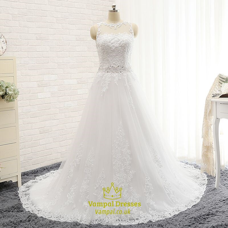 Elegant White Lace Sleeveless Floor Length Wedding Dress With Train ...